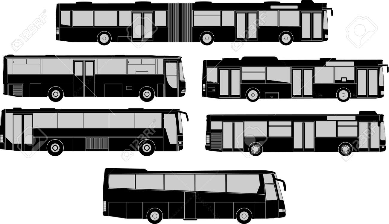 Vector pack of various bus silhouettes - 19119696