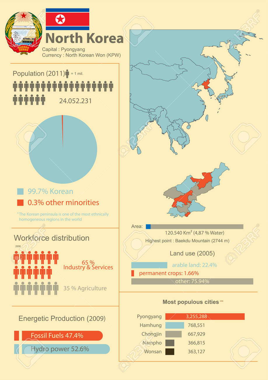 Vector Infographic of North Korea with demographic and economic data - 19118031