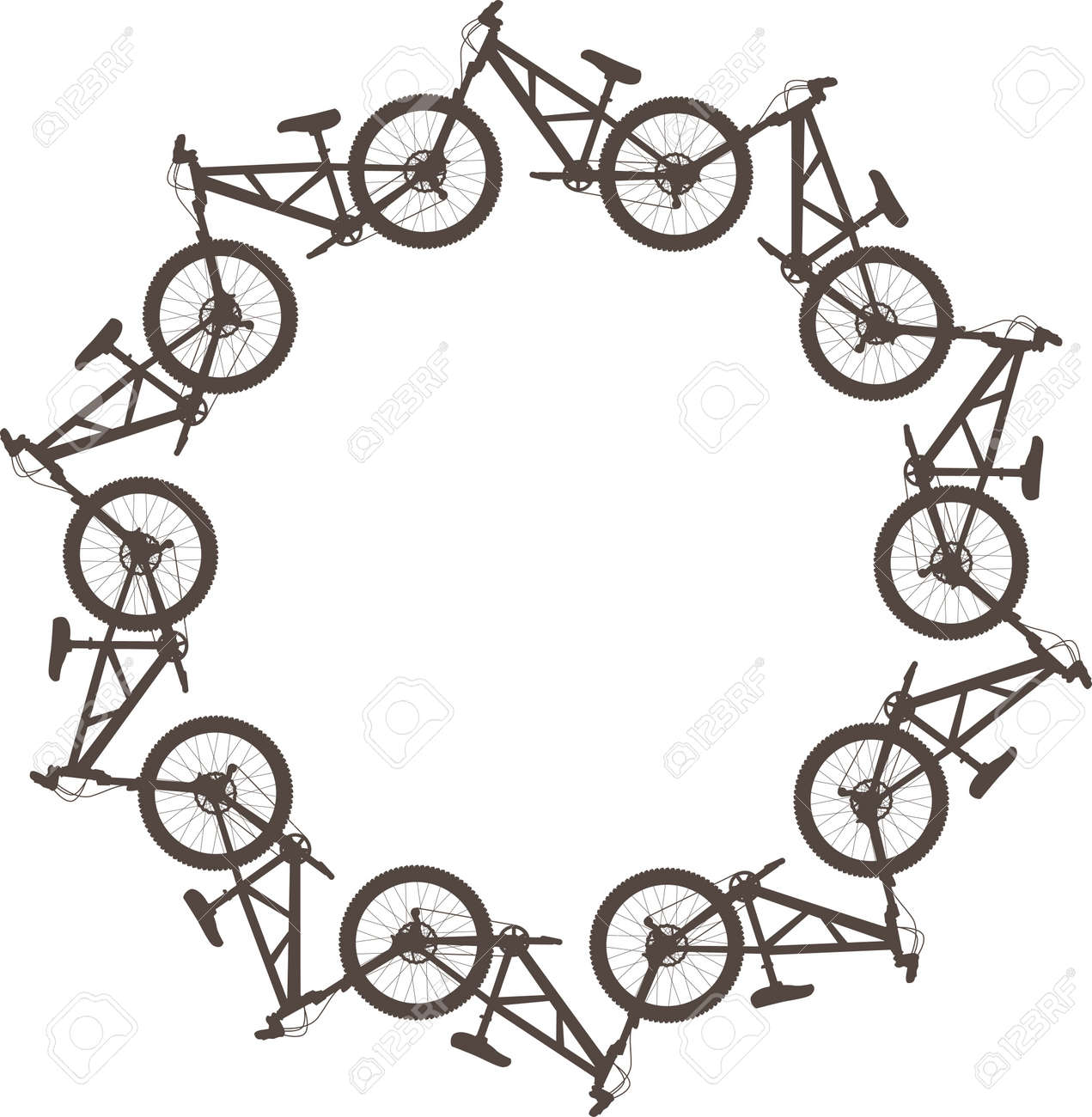 Vector illustration with bikes in a circle - 22188369