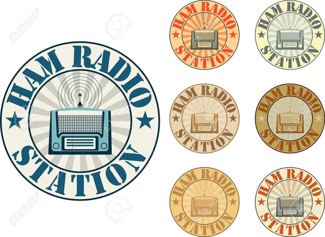 Vintage style ham radio station badges - 22170573