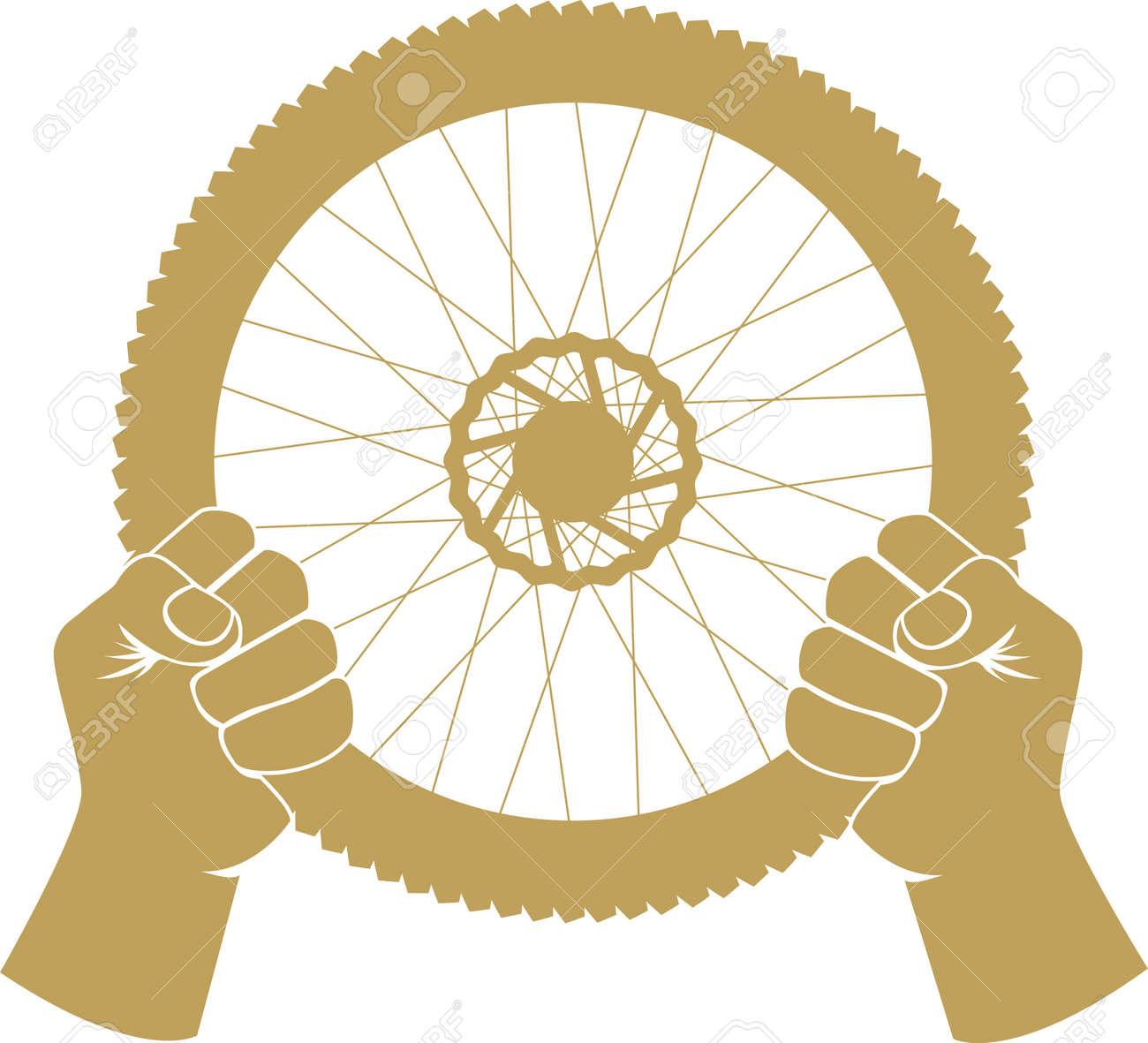 Vector illustration of a bike wheel used as car steering wheel - 22188373