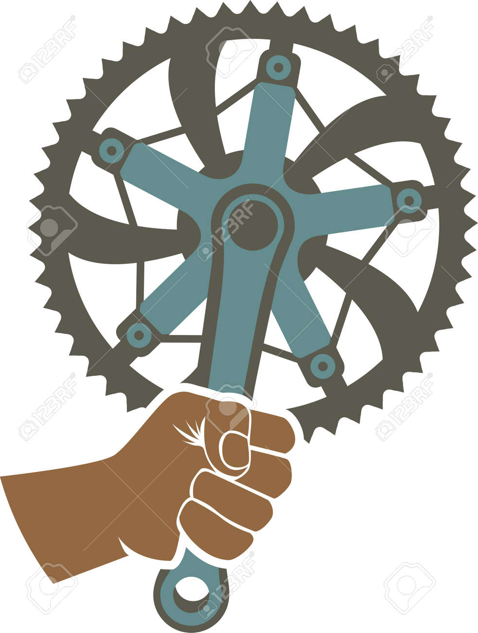 We got the power badge illustration with a bike chainring and fist - 22188375