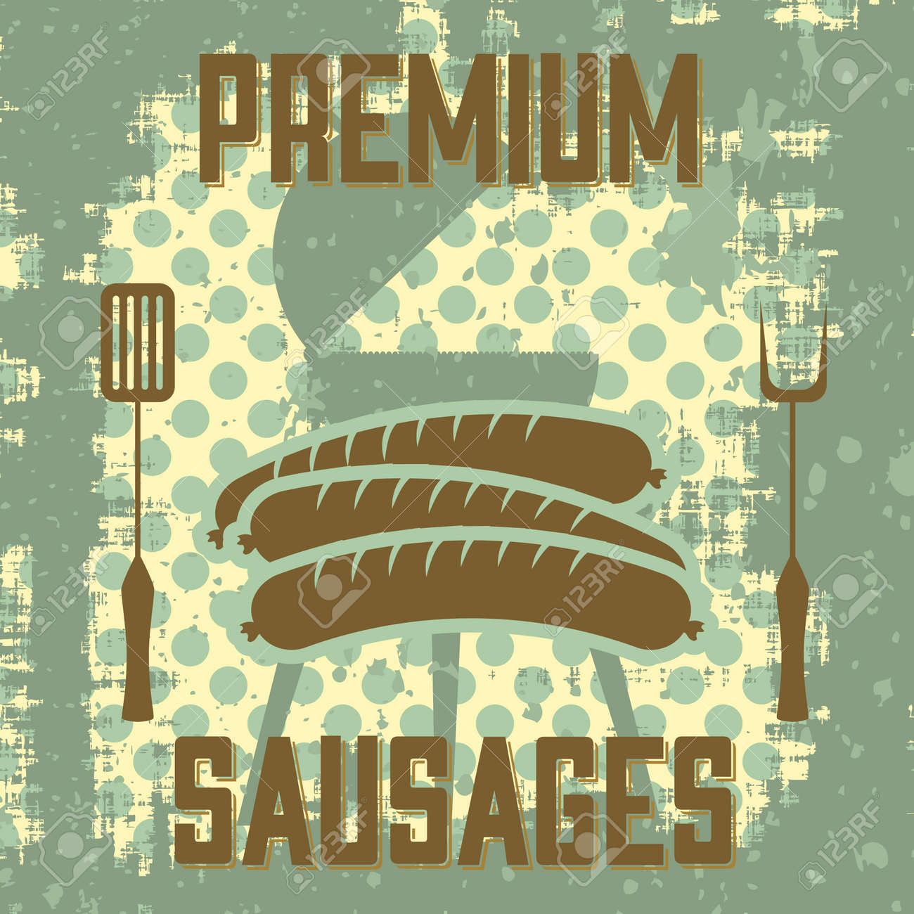 Vintage style poster with sausages Stock Vector - 23052129