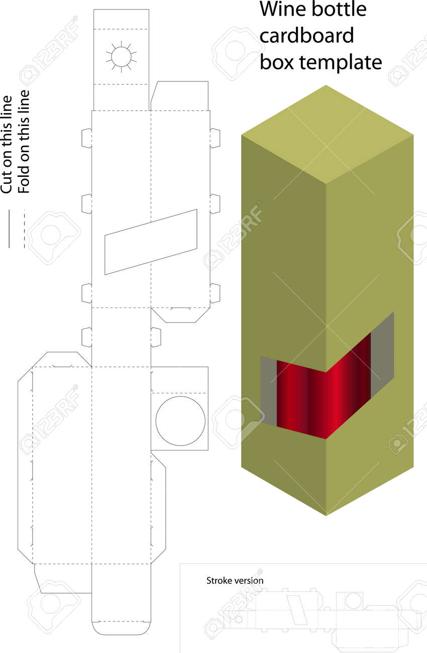 wine bottle cardboard box template royalty free cliparts vectors