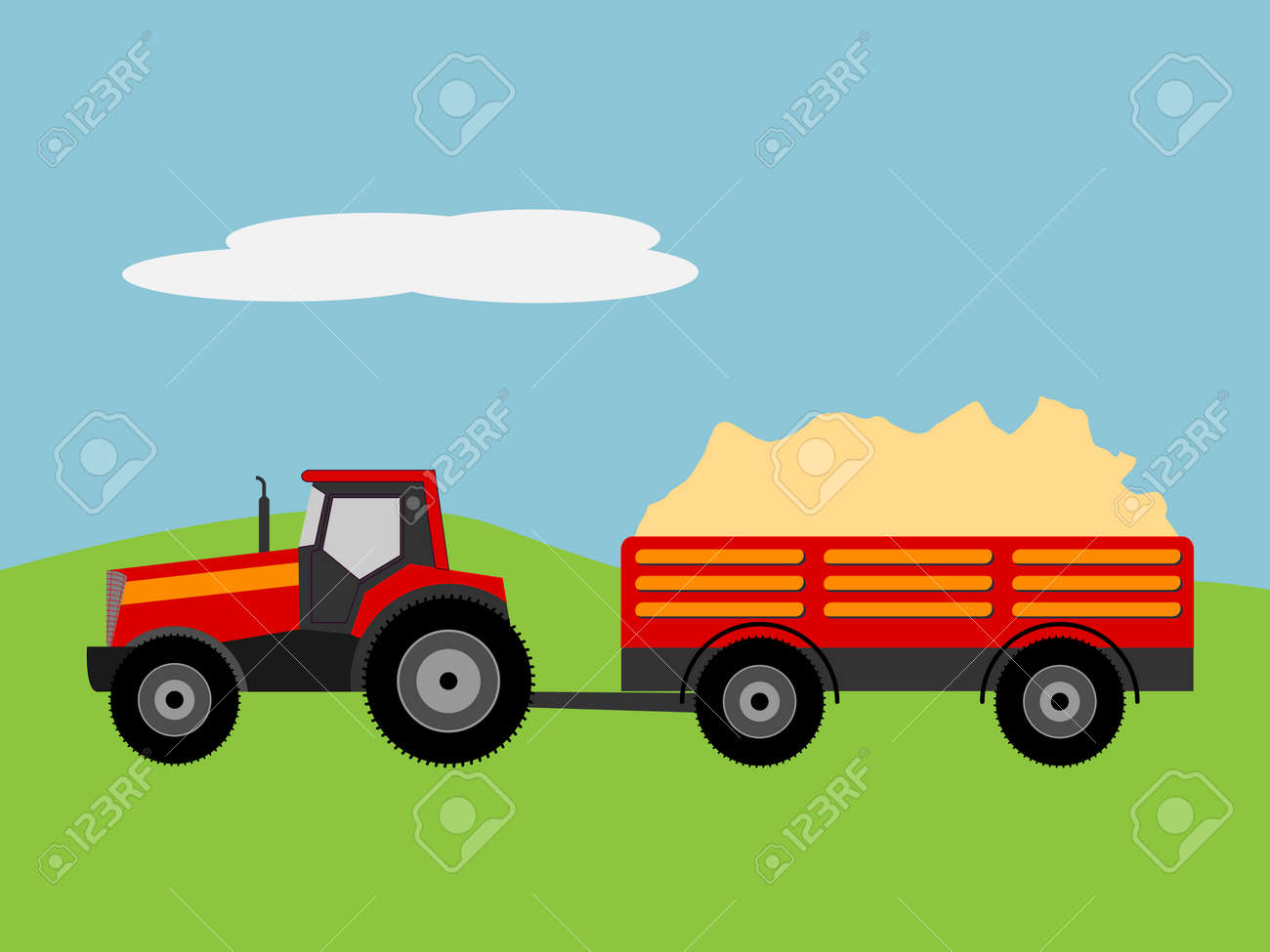 Vector illustration of a tractor with tug - 30607508