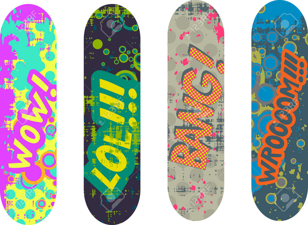 skateboard design pack with cartoon style effects - 31900208