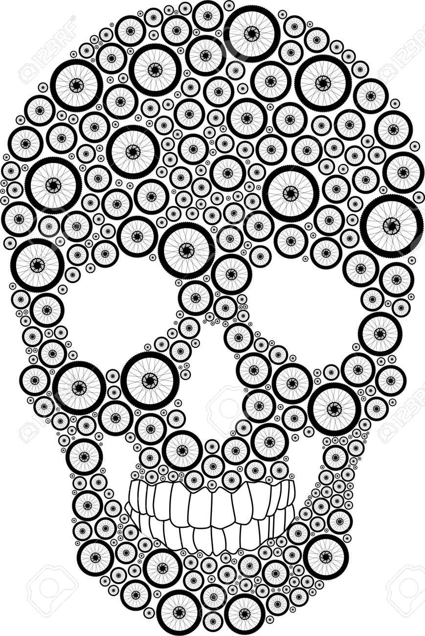 Vector skull created from bike wheels - 32462711