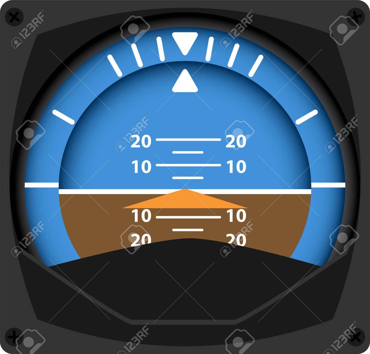 vector illustration of airplane attitude indicator - 32512823