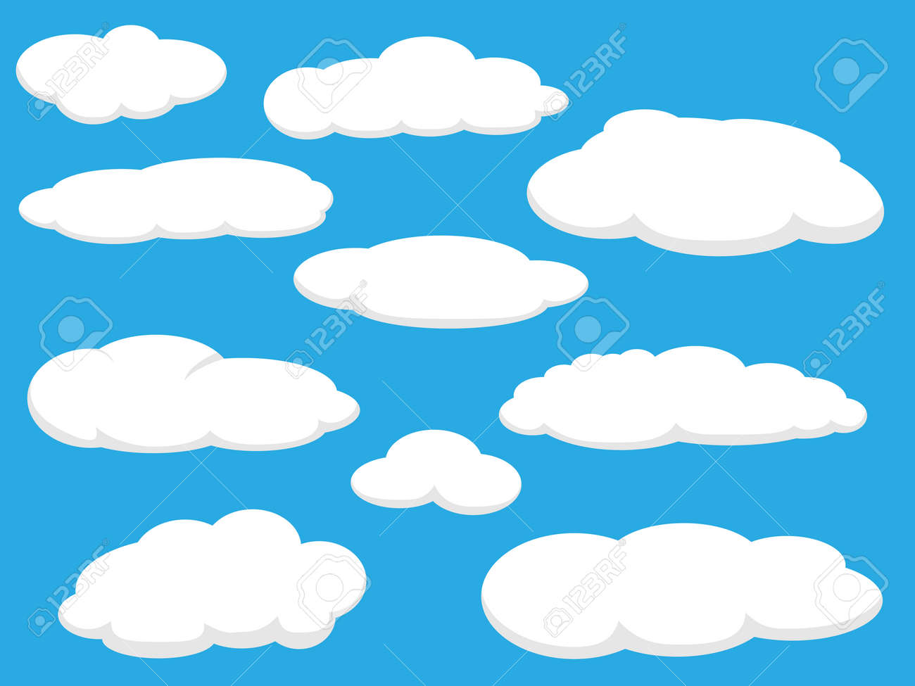 Cartoon clouds vector illustration pack - 42763547