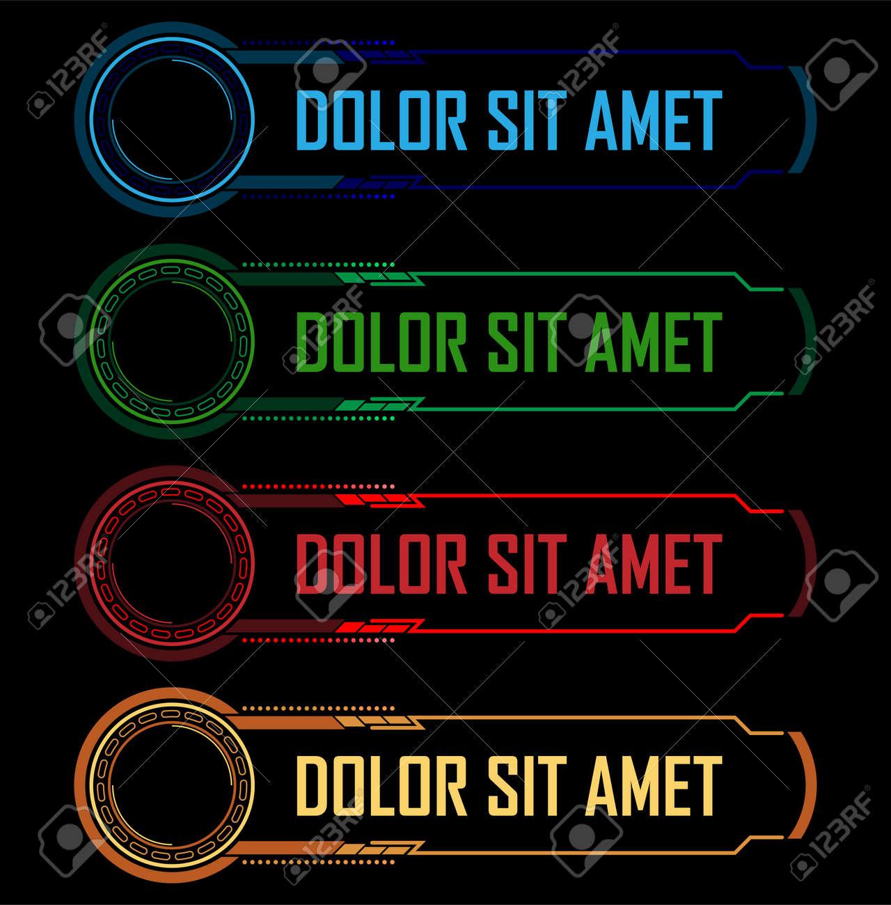 Colorful hi-tech buttons vector set - 44354286