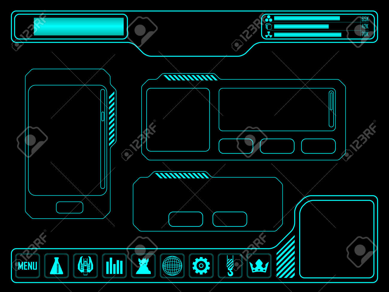 Vector elements for space video game - 44379060