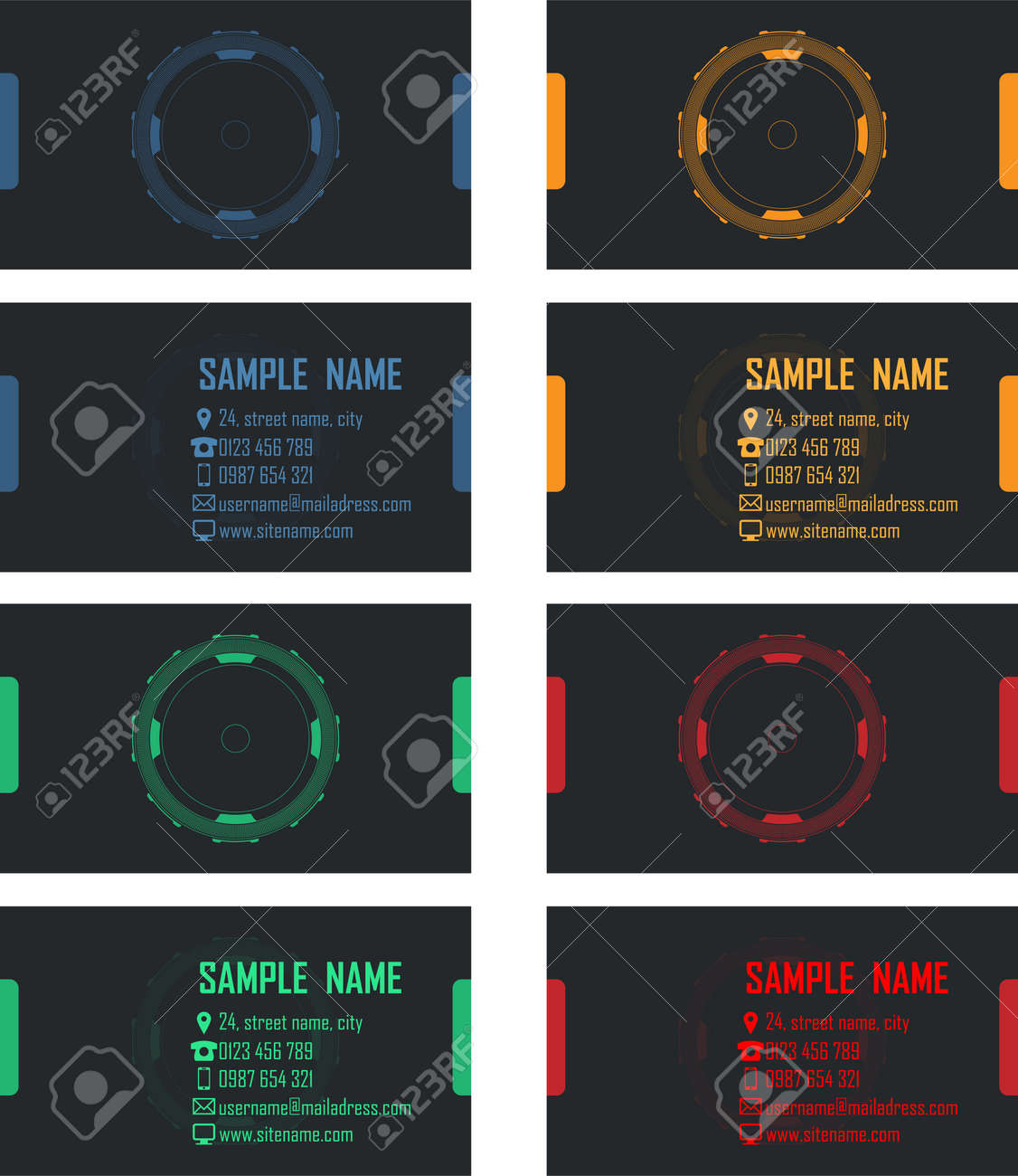 Business Cards Vector Pack With Sci-fi Target Design Royalty Free ...