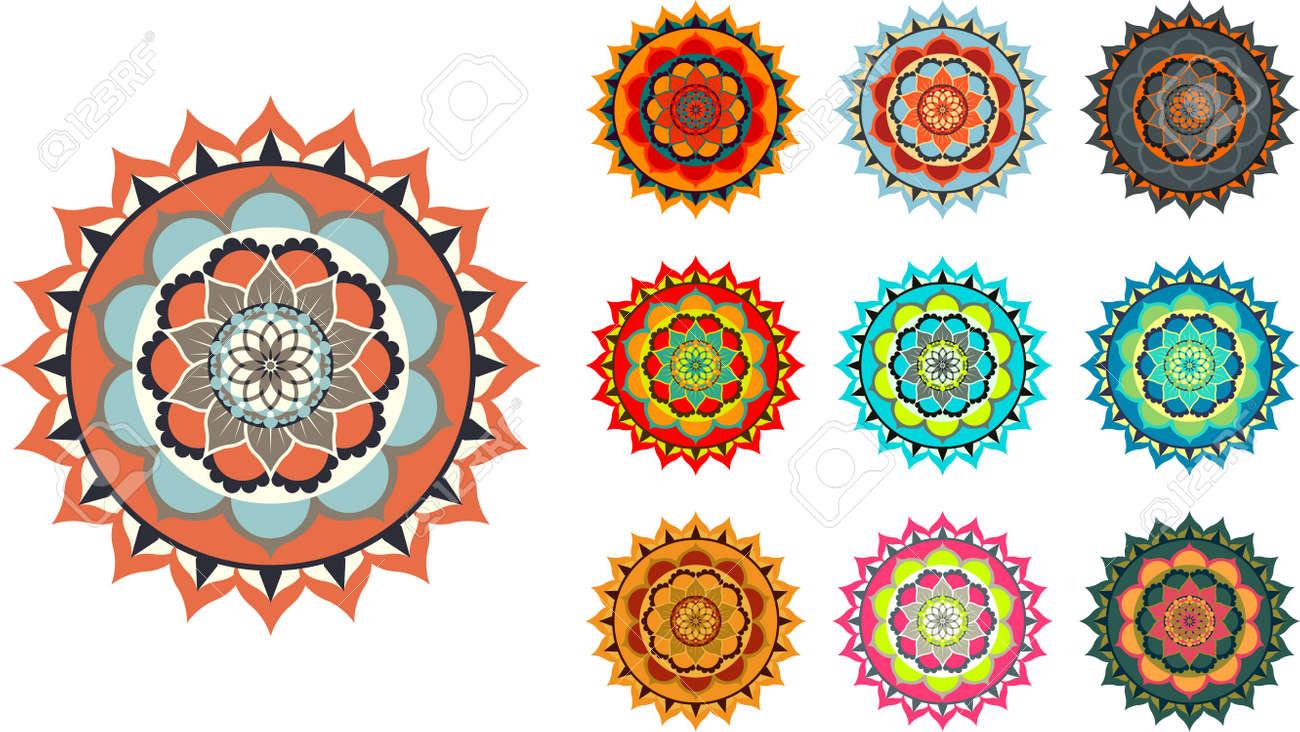 Colorful vector mandala set on white background illustration. - 92395159
