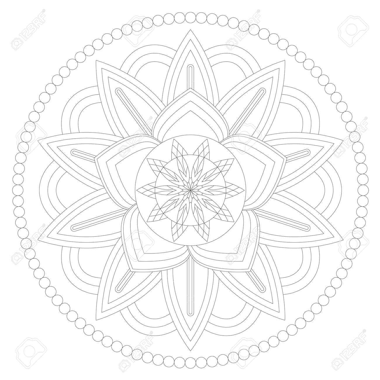 Ready to paint and colorize vector mandala - 123438393