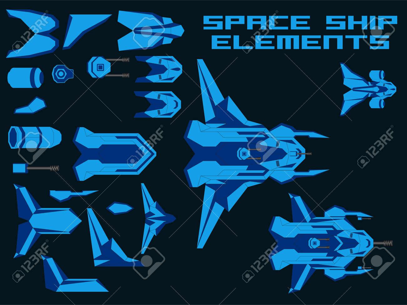 Vector Video Game Spaceship Creator Kit - 123438397