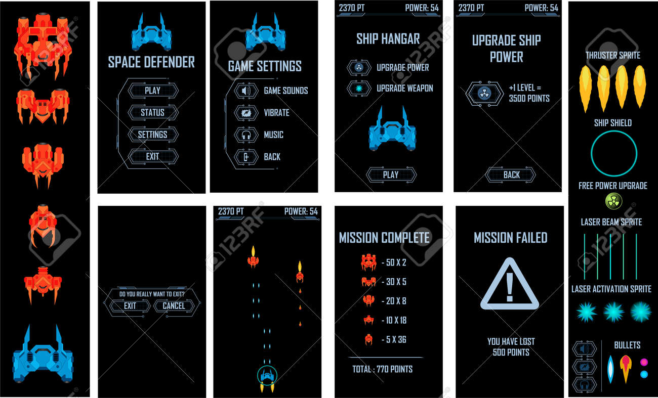 Space ship video game vector pack. All screens and elements included - 123438398