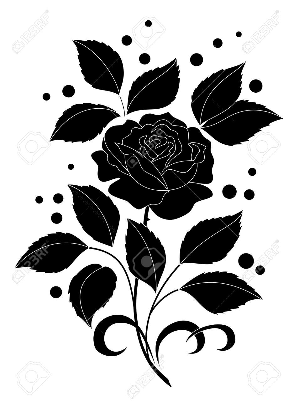 Flower rose with leaves and confetti. Black silhouettes on white background. Stock Vector - 12173610