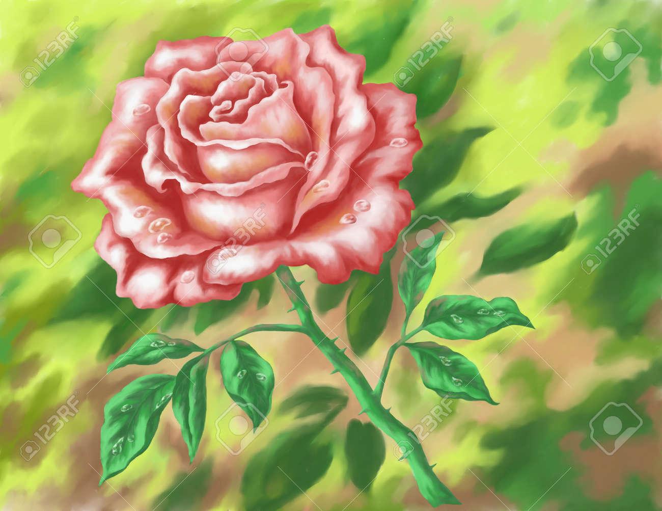 Fleur Rose Sur Fond Vert Photo Acrylique Peinture A La Main Tirage