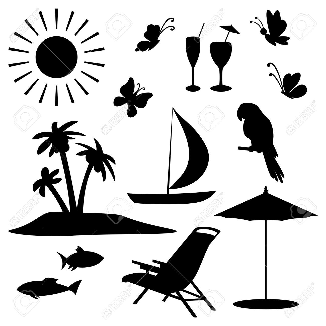 Beach chair and umbrella black and white - Beach Chair Set Objects Represent Summer Exotic And A Beach Black Contour On White