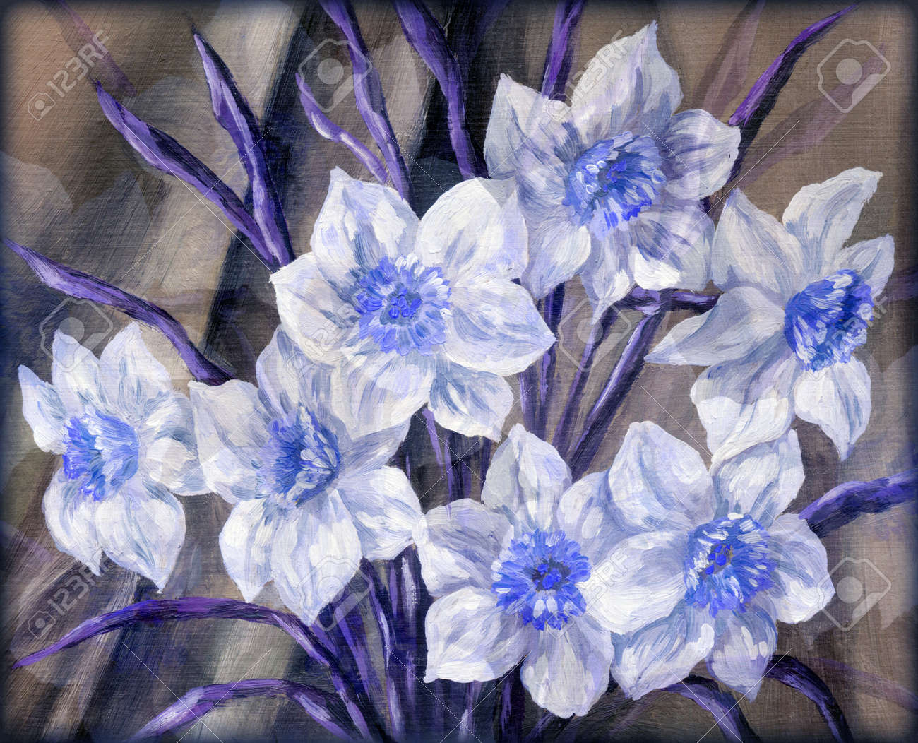 Picture still life blue and white flowers bouquet hand draw picture still life blue and white flowers bouquet hand draw oil paints on dhlflorist Image collections