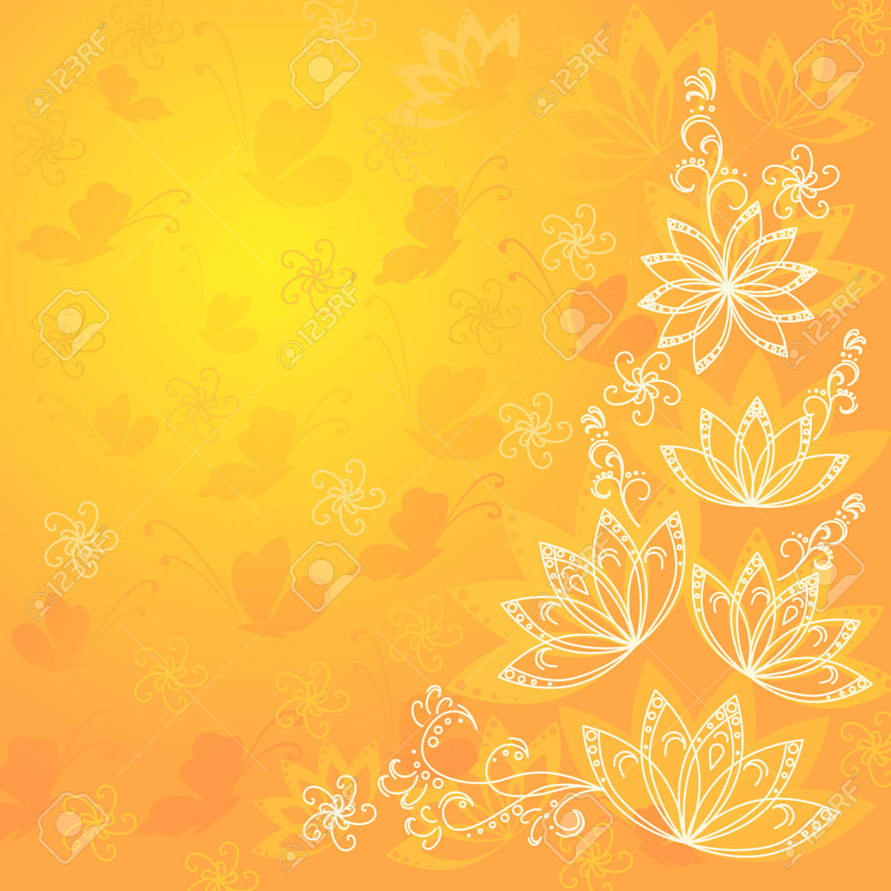 Abstract Orange And Yellow Floral Background With Flowers Contours