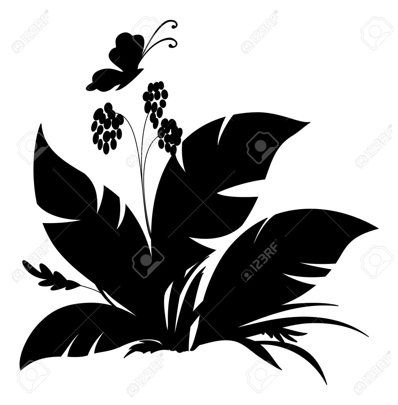 Tropical plant and butterfly, black silhouette on white background Stock Vector - 14057431
