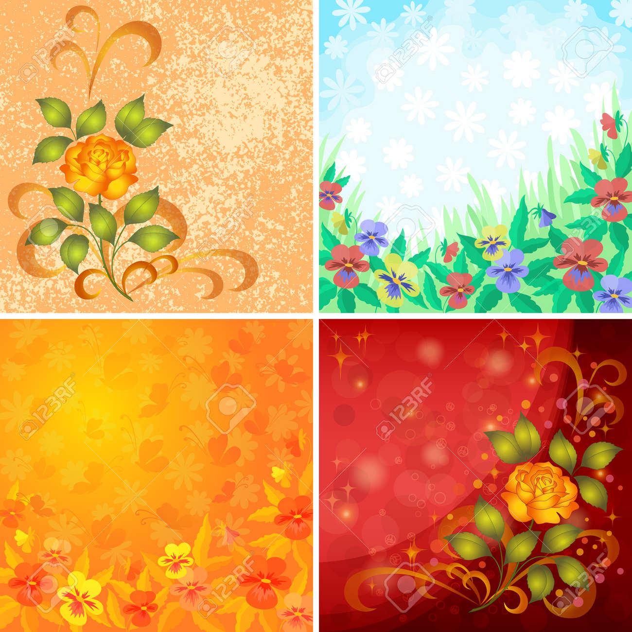 Set abstract holiday floral backgrounds with flowers pansies, roses and butterflies Vector eps10, contains transparencies - 14420528