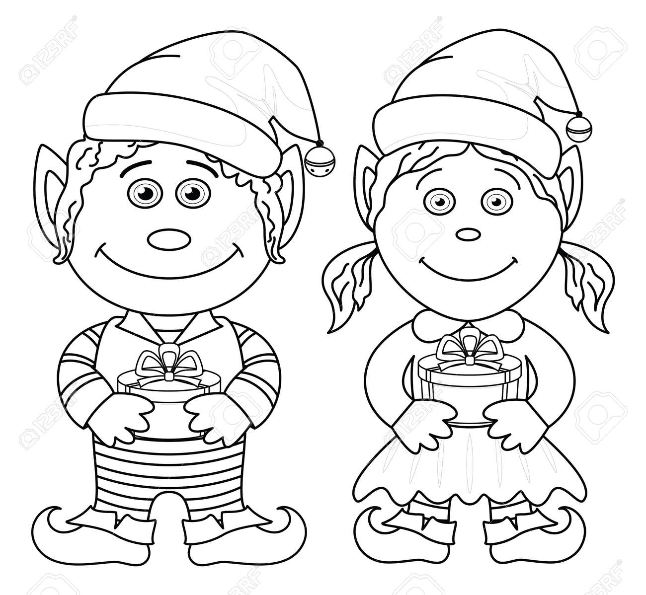 Cartoon Christmas Elves, Boy And Girl With Holiday Gift Boxes ...
