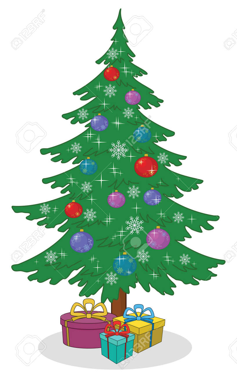 Holiday Cartoon Christmas Tree With Decoration And Gift Boxes Vector Stock