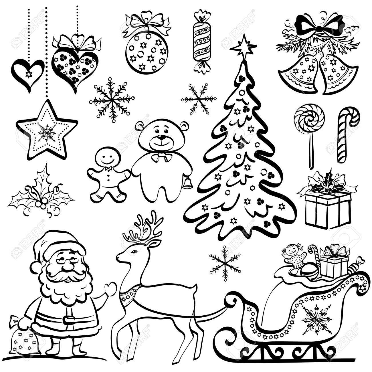 Christmas elements for holiday design, set of black cartoon silhouettes on white background - 15776090