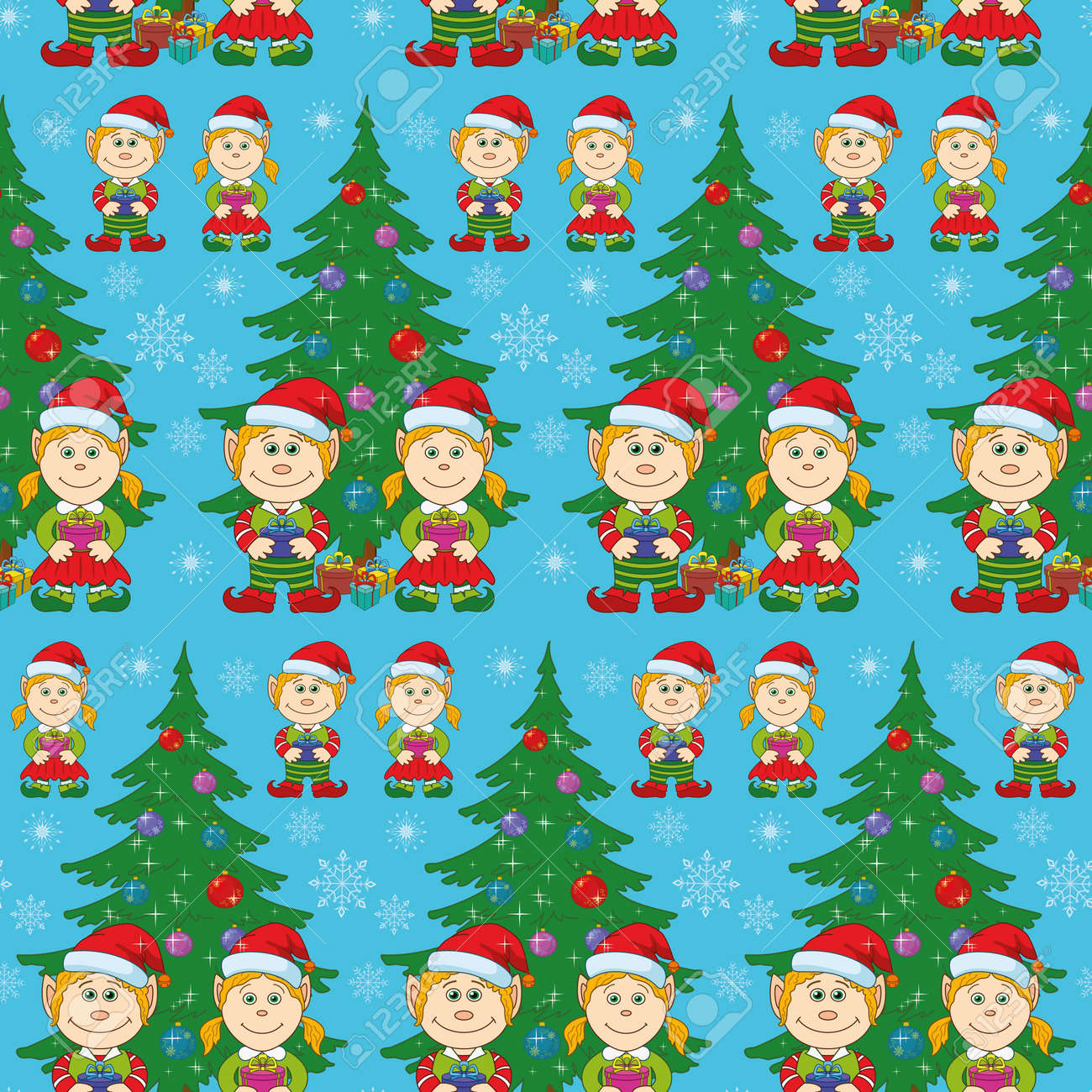 Seamless holiday Christmas background  cartoon child elves with gift boxes near fir tree Stock Vector - 15776099