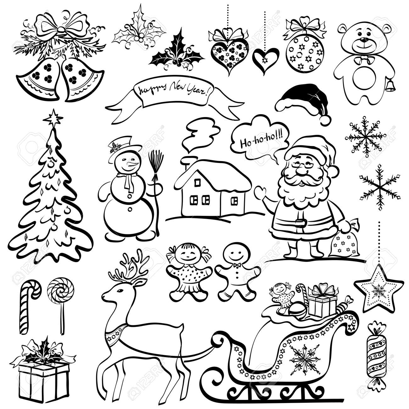 Christmas Elements For Holiday Design Set Of Black Cartoon Silhouettes On White Background Vector Stock