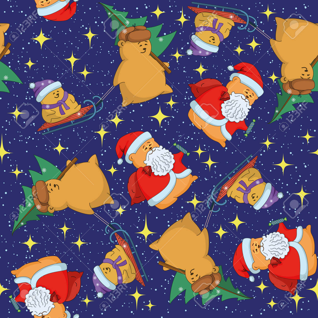 Christmas cartoon seamless background for holiday design with toys characters  Vector Stock Vector - 16159039