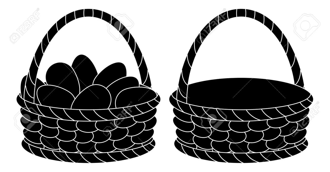 Wattled Easter Baskets Empty And With Chicken Eggs Black Silhouettes On White Background Stock