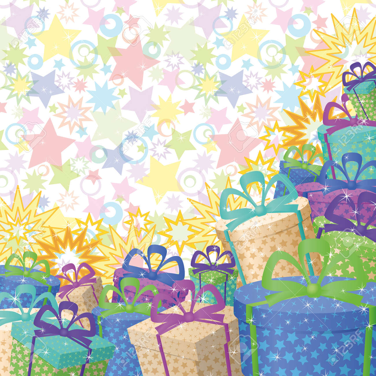 Holiday background with a pattern of festive gift boxes and stars  , contains transparencies Stock Vector - 17514318