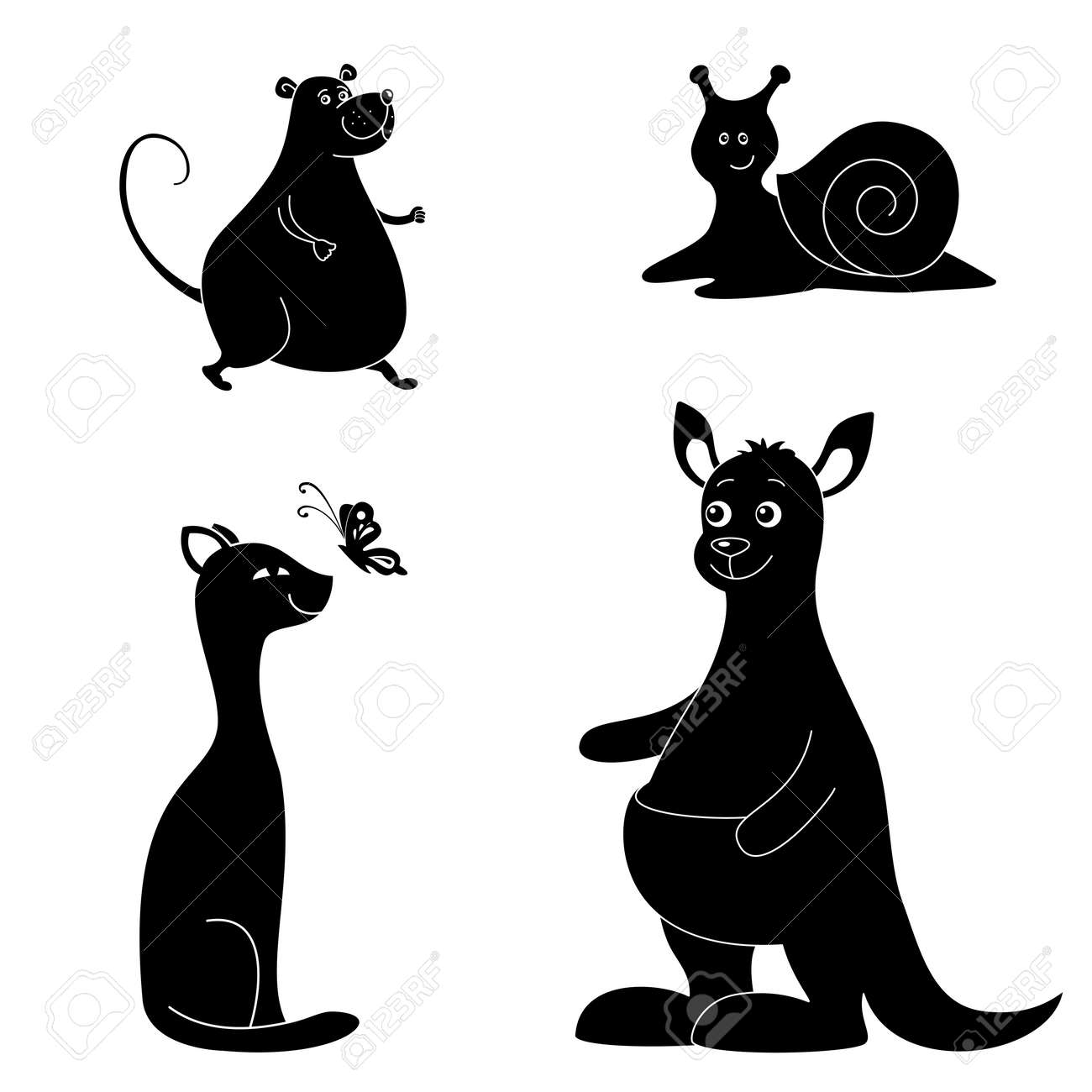 Cartoon animals  rat, snail, cat, butterfly, kangaroo  Black silhouettes on white background Stock Vector - 17514323