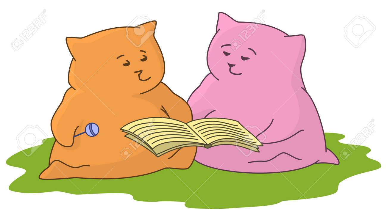 Cartoon toy animals sitting on a green meadow and reading book - 17621853