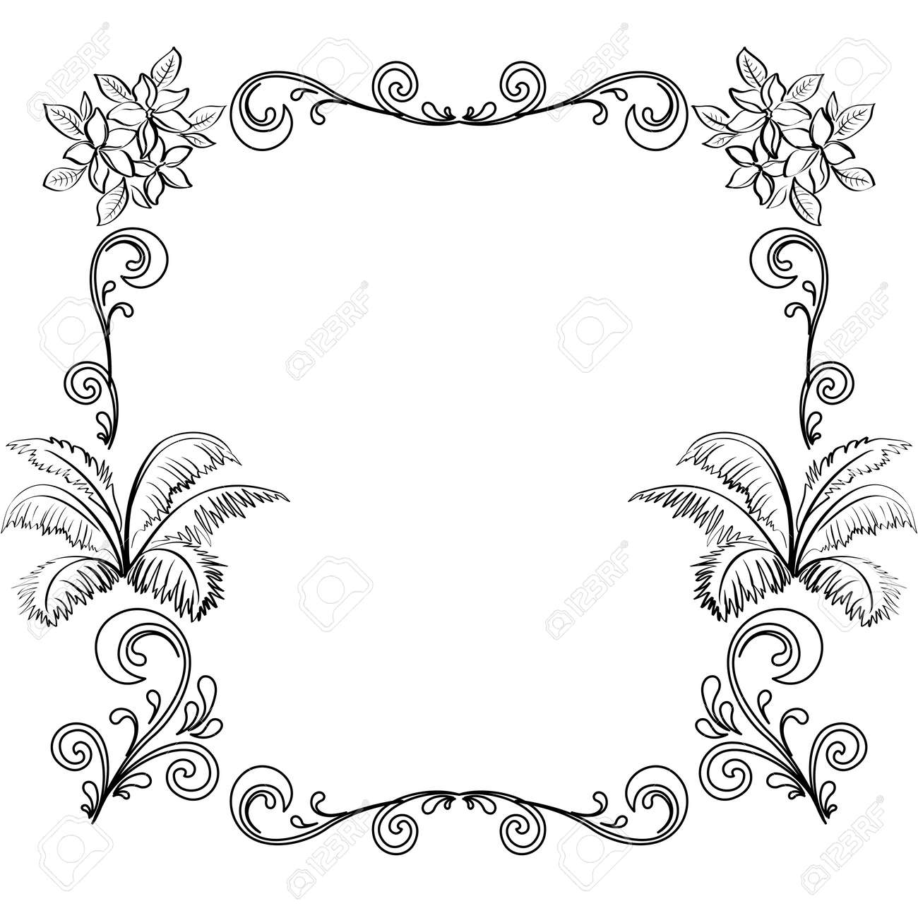 Abstract floral background, frame of flowers, black contour on white background - 19217628