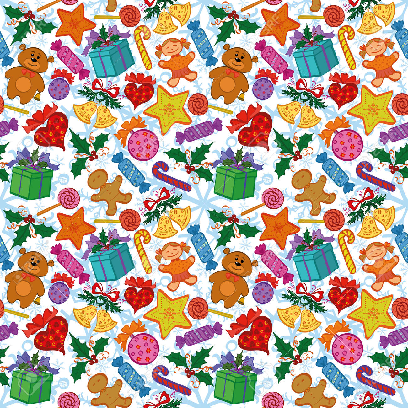 Holiday seamless pattern with cartoon characters and elements. Vector Stock Vector - 22039327