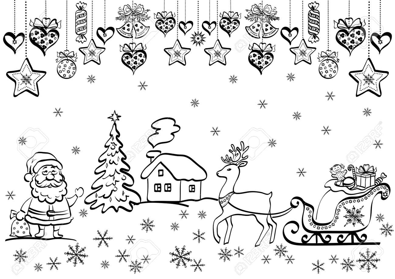 Christmas background with black contour cartoon Santa Claus and holiday decorations. Stock Vector - 22129561