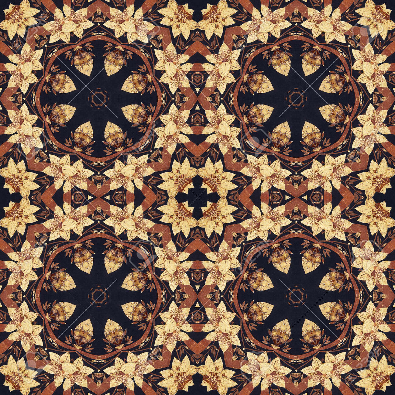 Abstract artistic pattern, seamless handmade floral ornament, applique from the back side of a birch bark on black fabric background - 29183028