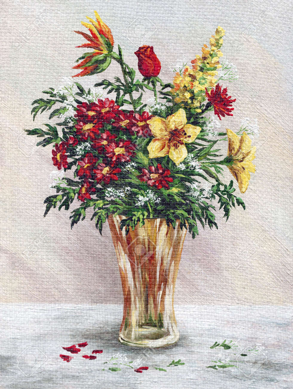 Picture oil painting on a canvas a bouquet of flowers in a glass picture oil painting on a canvas a bouquet of flowers in a glass vase stock izmirmasajfo