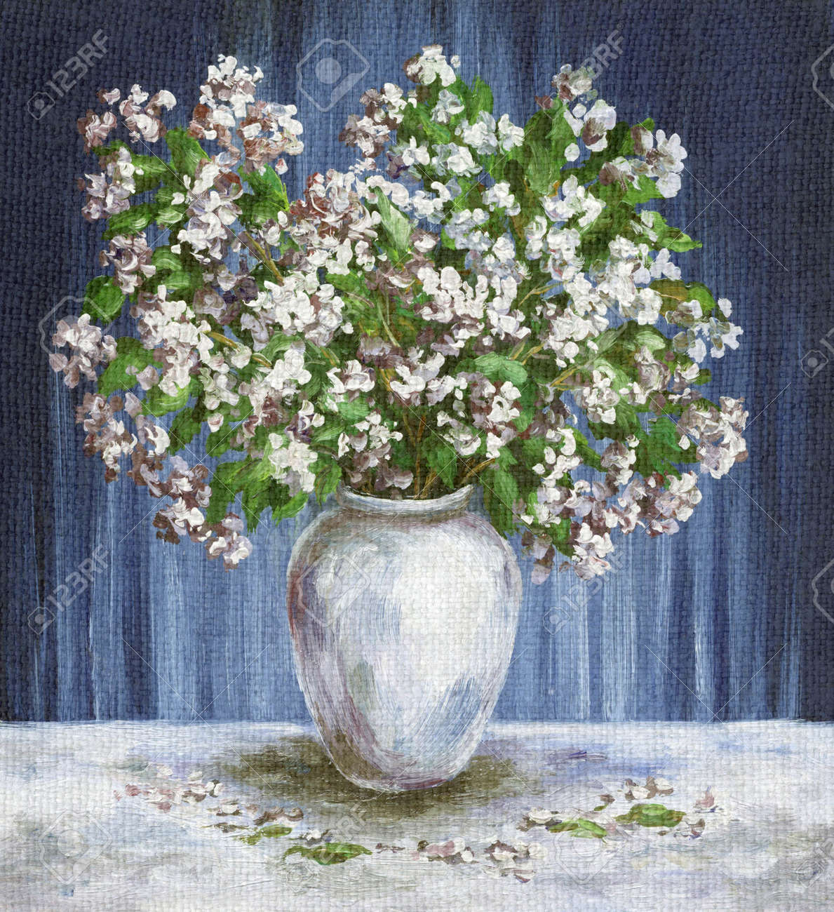 Picture oil painting on a canvas a bouquet of flowers jasmine picture oil painting on a canvas a bouquet of flowers jasmine in a white vase floridaeventfo Images
