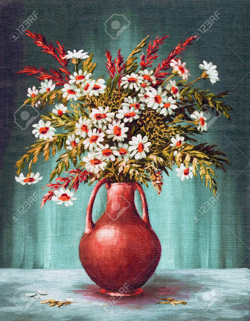 Picture oil painting on a canvas a bouquet of flowers in a clay picture oil painting on a canvas a bouquet of flowers in a clay vase stock floridaeventfo Images