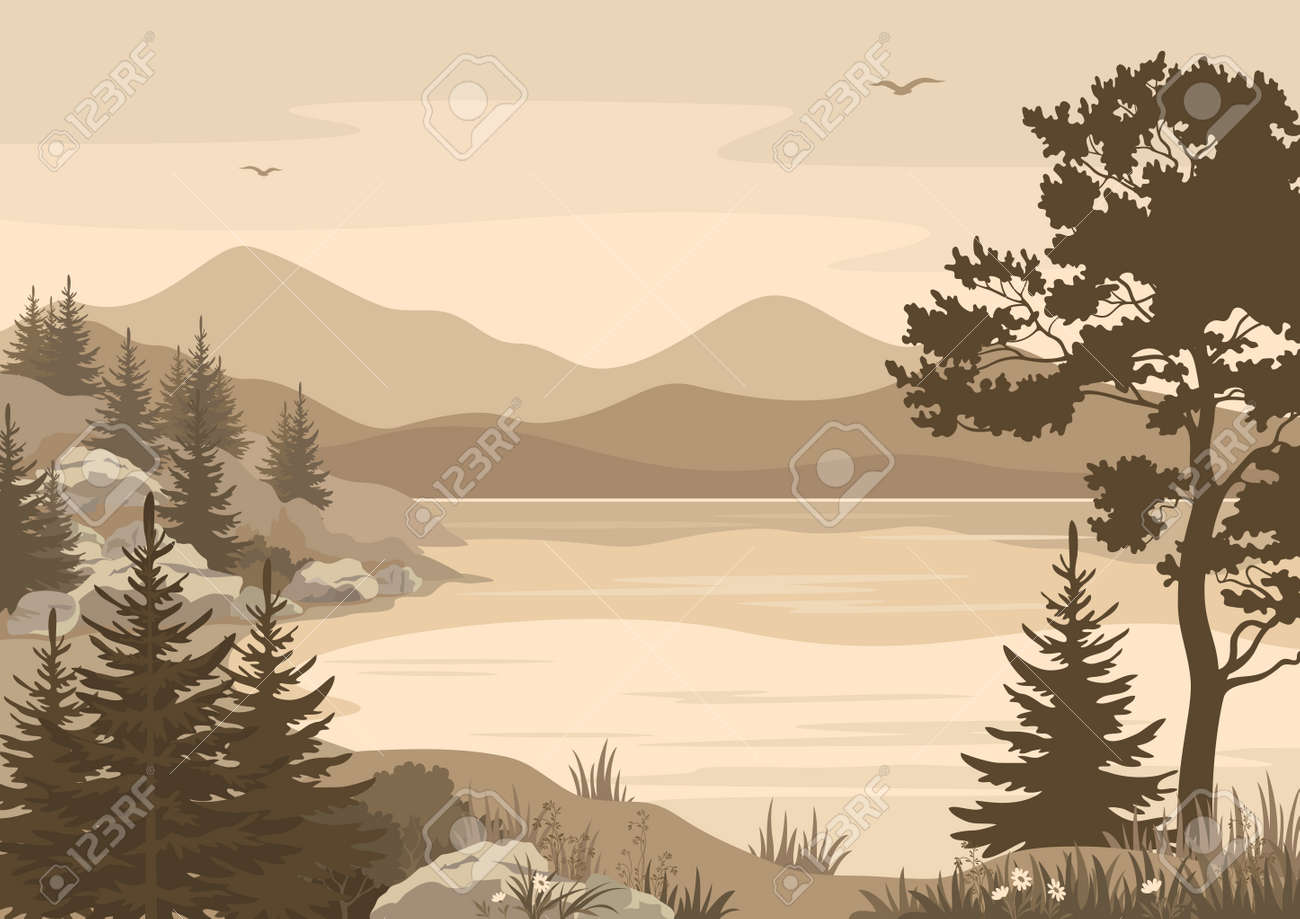 Landscapes, Lake, Mountains with Trees, Flowers and Grass, Birds in the Sky Silhouettes. Vector - 43622753