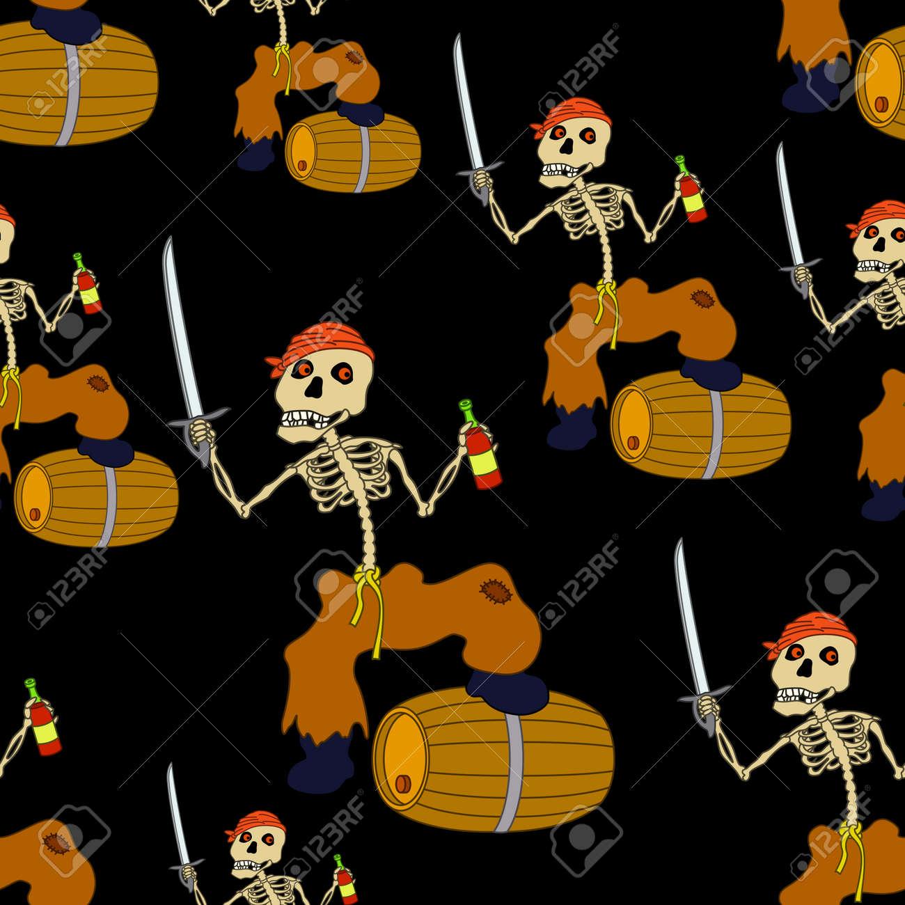 Christmas Zombie Wallpaper.Seamless Wallpaper Cartoon Evil Zombie Pirate Jolly Roger Skeleton