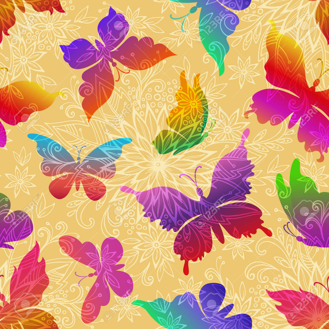 Seamless Pattern, Exotic Colorful Butterflies Silhouettes on Tile Background with Symbolic Flowers Contours. Vector - 147263084