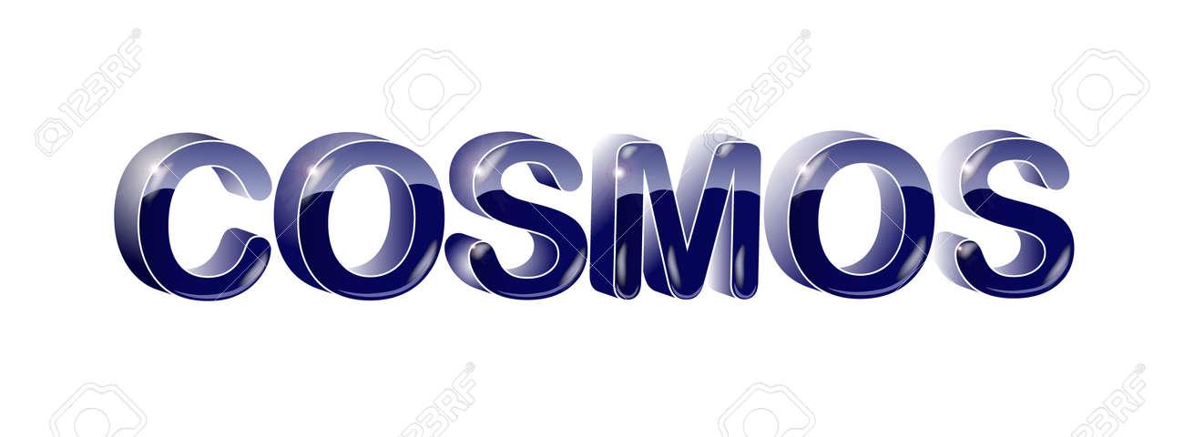 Cosmic font style 3D bold shiny iron letters
