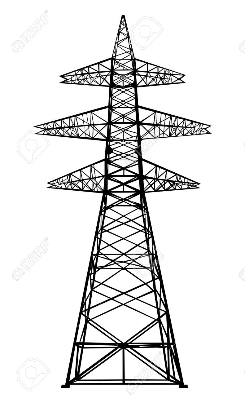 Power transmission tower Isolated on white Vector - 23107538