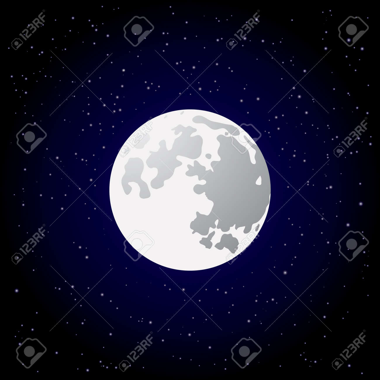 Full moon and shining stars on dark blue sky Stock Vector - 23858507